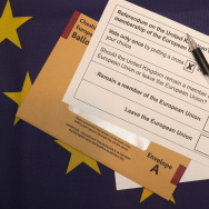 In this photo illustration a European Union referendum postal voting form, waits to be signed. The United Kingdom will hold a referendum on June 23, 2016 to decide whether or not to remain a member of the European Union (EU).