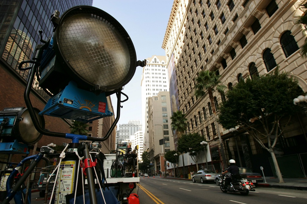 A film crew on location in downtown Los Angeles.