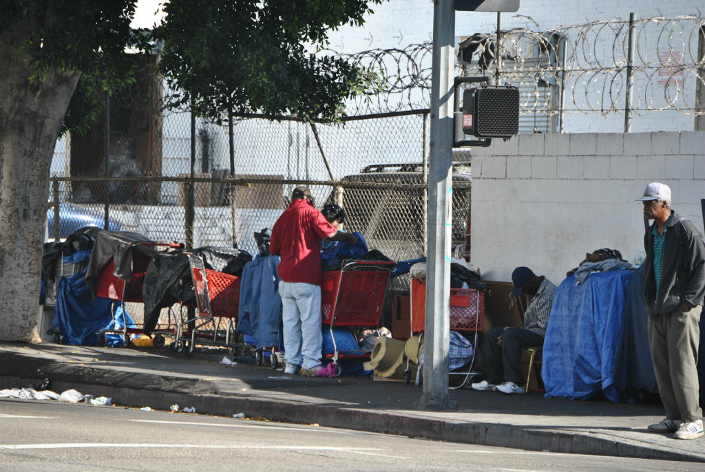 A homeless camp on L.A.'s Skid Row. City Attorney Carmen Trutanich is investigating claims that a Las Vegas psychiatric hospital has shipped discharged patients to Skid Row.