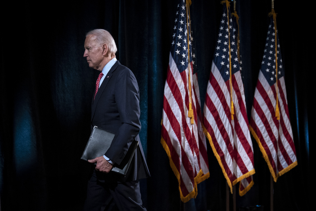 Democratic presidential candidate former Vice President Joe Biden leaves the lectern after delivering remarks about the coronavirus outbreak on March 12, 2020 in Wilmington, Delaware.