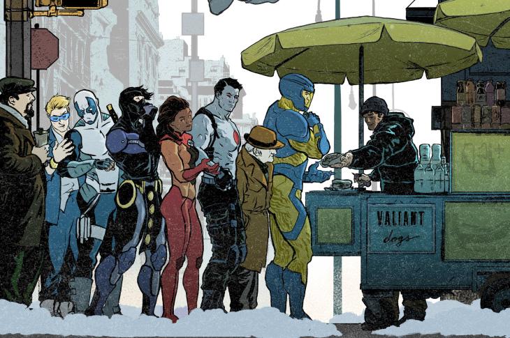 An original illustration of the Valiant superheroes.