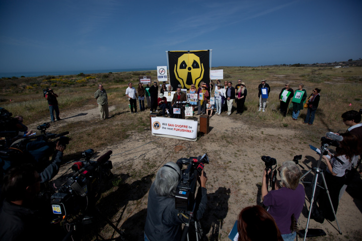A couple dozen nuclear protesters gathered to call for the closure of the San Onofre Nuclear Plant on April 6, 2012.