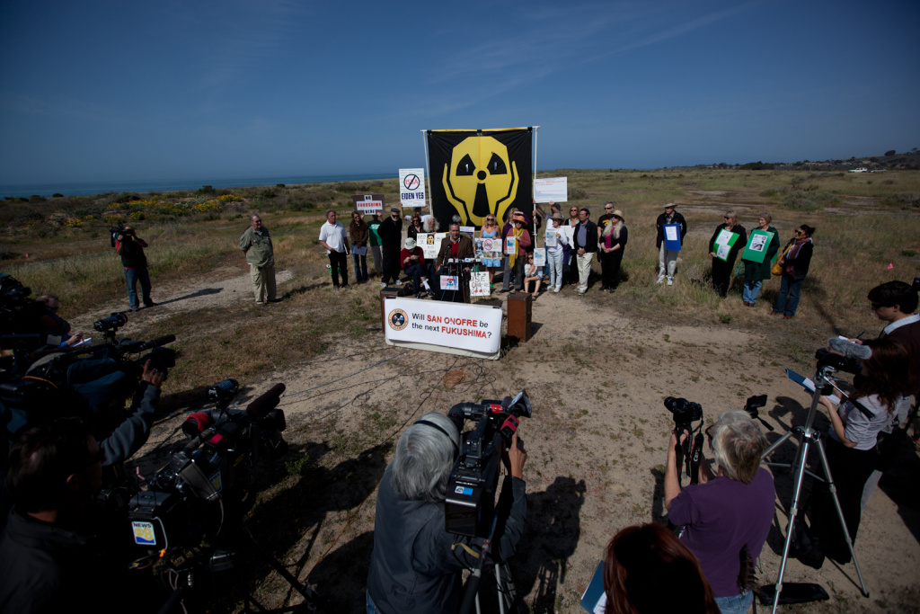 A crowd of anti-nuclear protesters at San Onofre State Beach, in their first protest earlier this month.