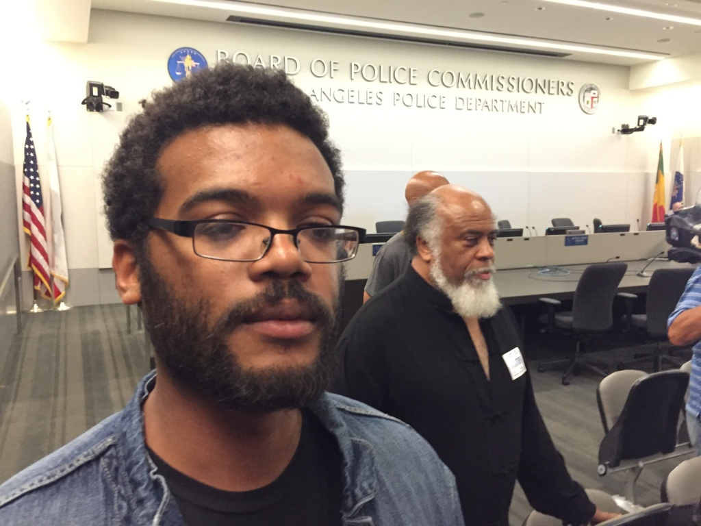 """Marcus Vaughn, husband of Redel Kentel Jones, who was shot and killed by Los Angeles police officers in August 2015, traveled from Oakland to appear at a meeting of L.A. police commissioners on July 12, 2016. Vaughn said he was there to urge the commission to change LAPD policies because they don't work. """"They only result in murder and separations of families,"""" he said. The commission was considering whether officers acted within policy when they shot the 30-year-old Jones, who is black."""