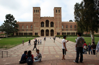A frontal view of one of the main halls at UCLA.