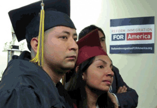Student Dream Act supporters react after the Senate voted down the DREAM Act on December 18, 2010
