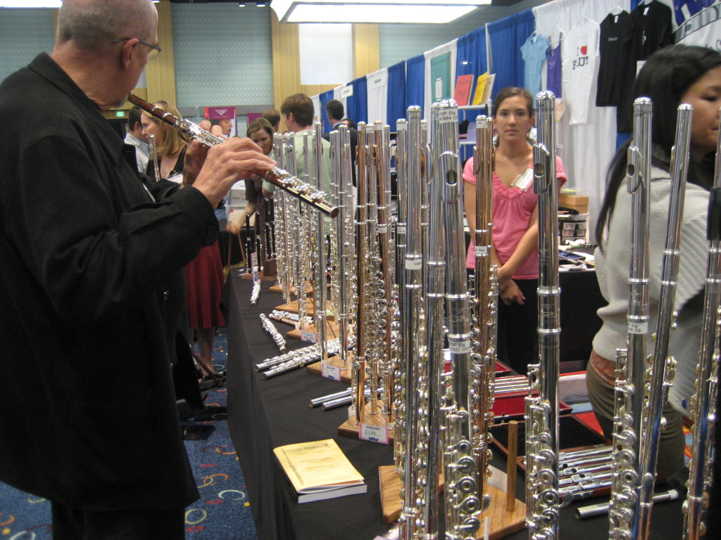 A flutist checks out the selection of new flutes at the Flutacious! booth at the recent Natinoal Flute Association convention in Anaheim.