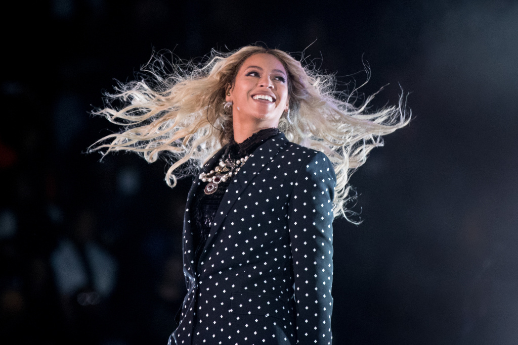 "In this Nov. 4, 2016 file photo, Beyonce performs at a Get Out the Vote concert for Democratic presidential candidate Hillary Clinton in Cleveland. The pop star is the leader of the 2017 Grammys with nine nominations, including bids for album of the year with ""Lemonade,"" and song and record of the year with ""Formation,"" announced Tuesday, Dec. 6."