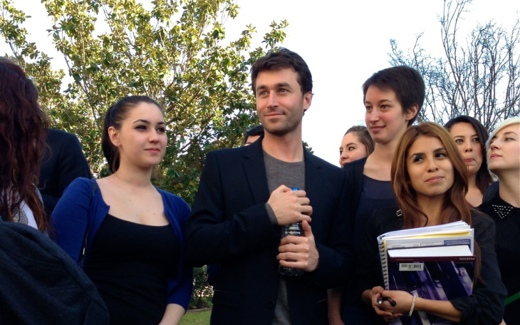 Adult film star James Deen poses with students at Pasadena City College, where he took classes as a teen.