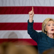 Democratic presidential candidate Hillary Clinton speaks at a rally in Marshalltown, Iowa. Clinton is narrowly ahead of Sanders, but within the margin of error in the final Iowa poll.