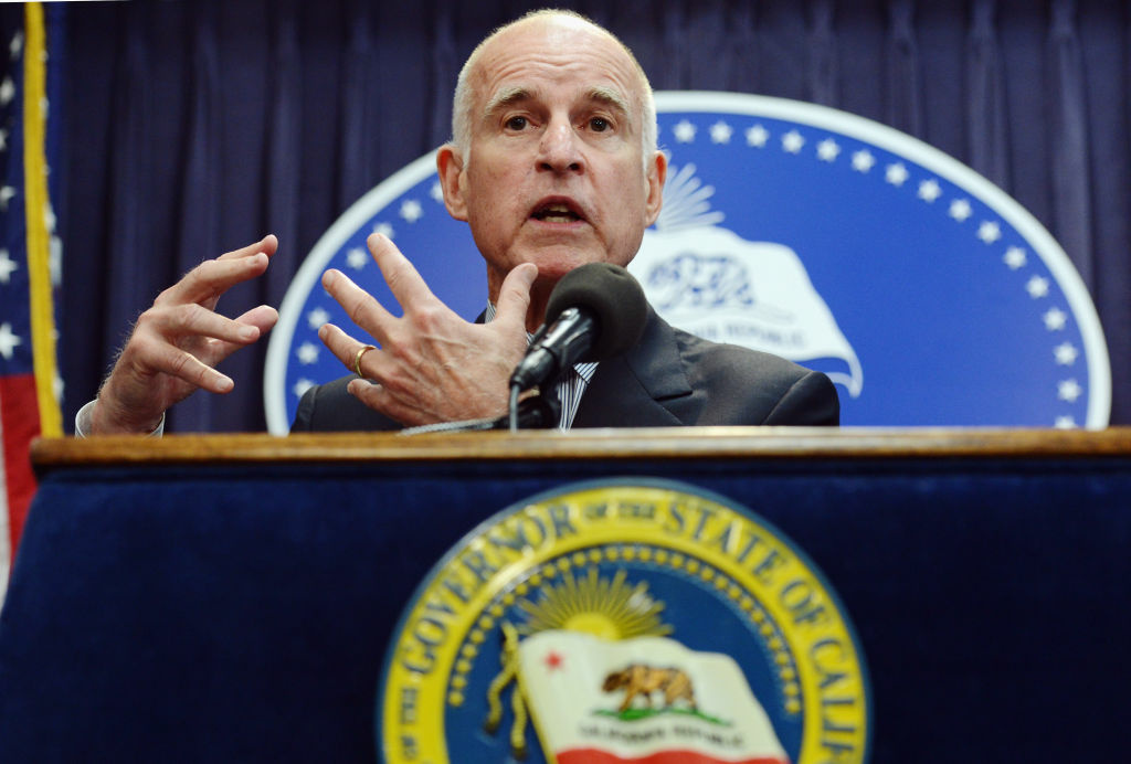 California Gov. Jerry Brown speaks during a news conference on May 14, 2012 in Los Angeles.  Brown proposes $8.3 billion in cuts in California to help close a projected $16 billion budget shortfall.