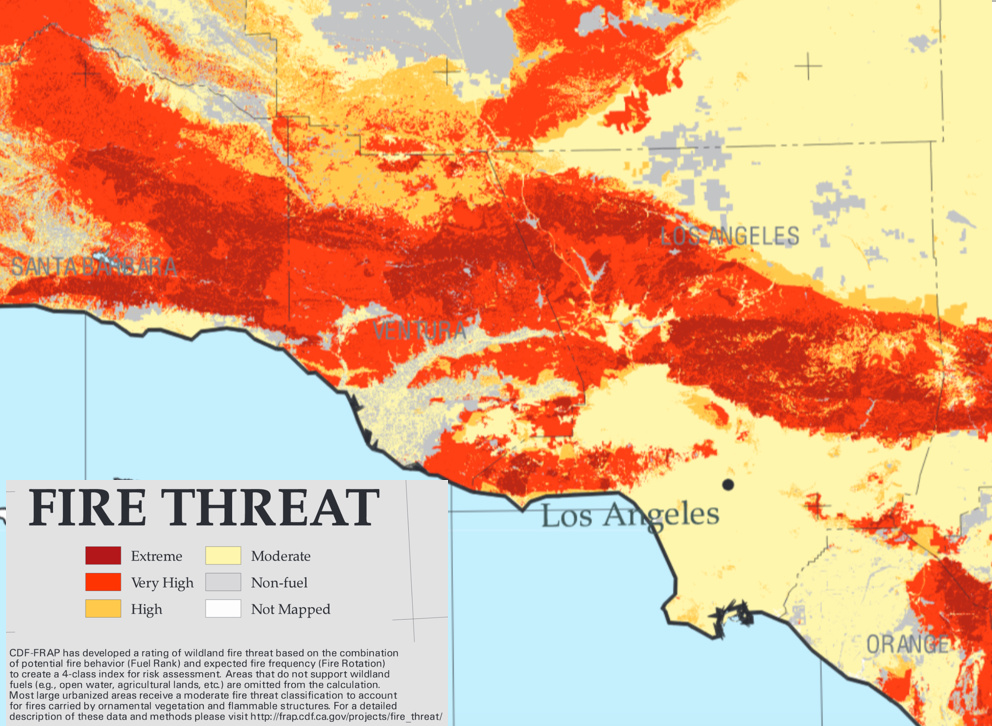 A portion of CalFire's map of areas with high fire risk in Southern California