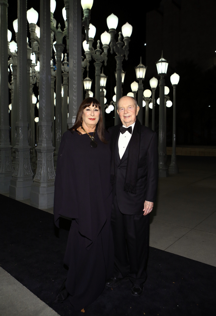 Actress Anjelica Huston (L) and Jerry Perenchio at the 2014 LACMA Art + Film Gala.