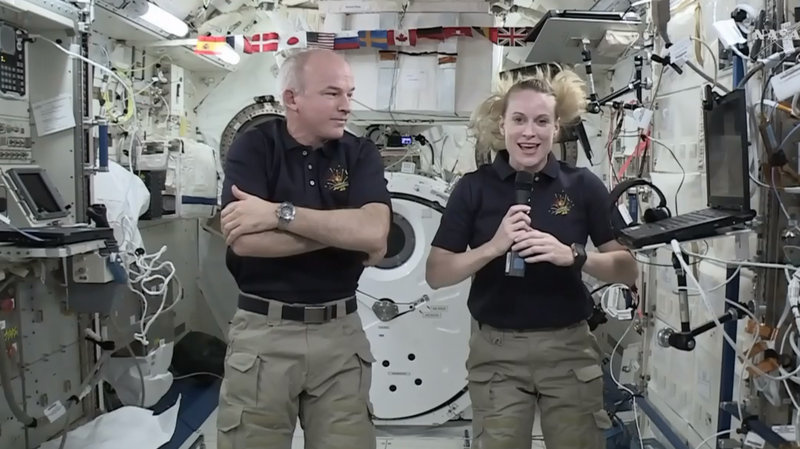 Astronaut Kate Rubins and Expedition 48 Commander Jeff Williams speak during an interview aboard the International Space Station last month.