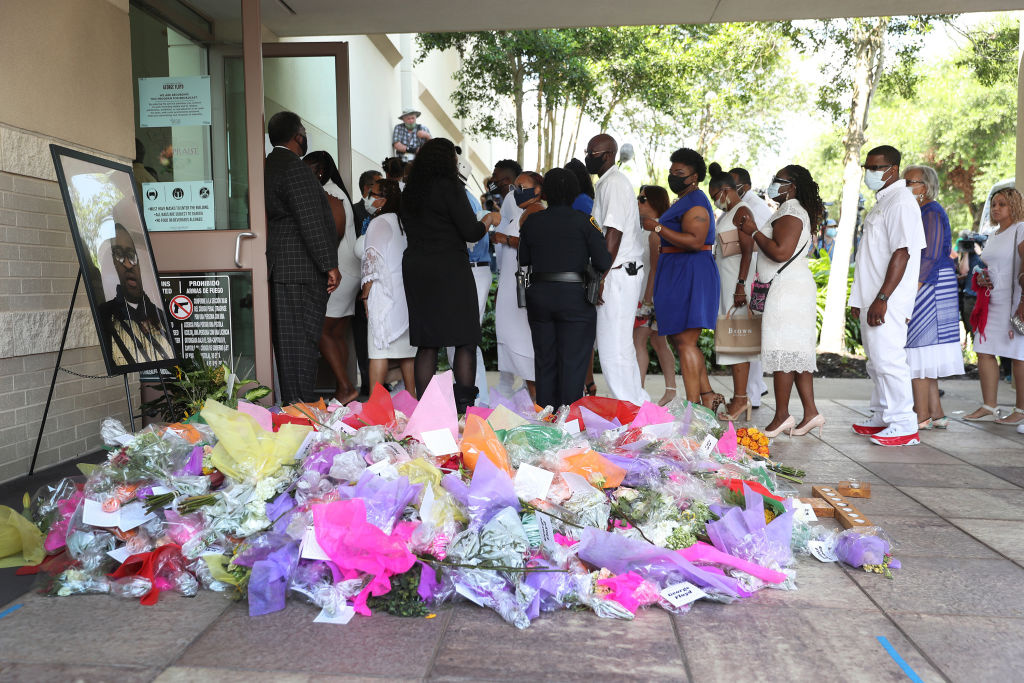 Family and friends of George Floyd enter the Fountain of Praise church for his funeral on June 9, 2020 in Houston, Texas.