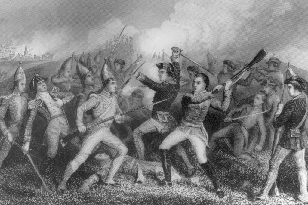 Soldiers fighting in the Battle of Bennington during the American War of Independence.