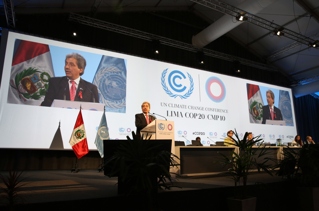 Peru's Minister of the Environment and new President of COP20, Manuel Pulgar-Vidal, talks during the opening ceremony of the Climate Change Conference in Lima, Peru, Monday, Dec. 1, 2014. Delegates from more than 190 countries will meet in Lima for the next two weeks to work on drafts for a global climate deal that is supposed to be adopted next year in Paris.