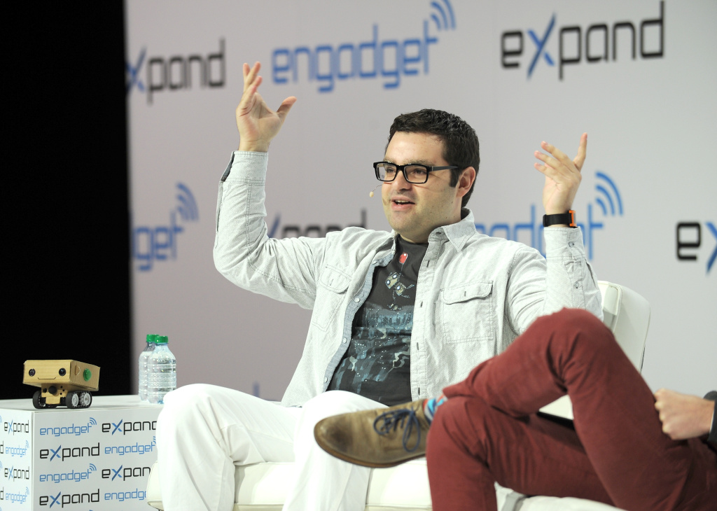 President and CEO BlabDroid, Alexander Reben and Editor-in-Chief of Engadget Michael Gorman speak at Engadget Expand New York 2014 on November 8, 2014 in New York City.