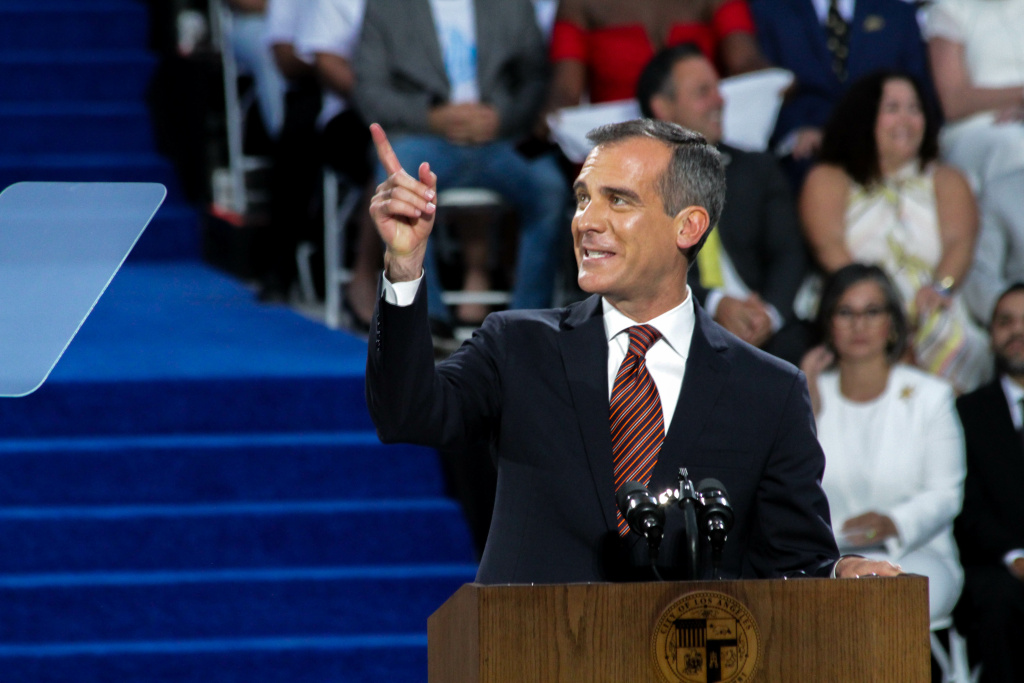Mayor Eric Garcetti takes to the podium at his inauguration at City Hall in Los Angeles, California on July 1, 2017. He says he will not run for governor.