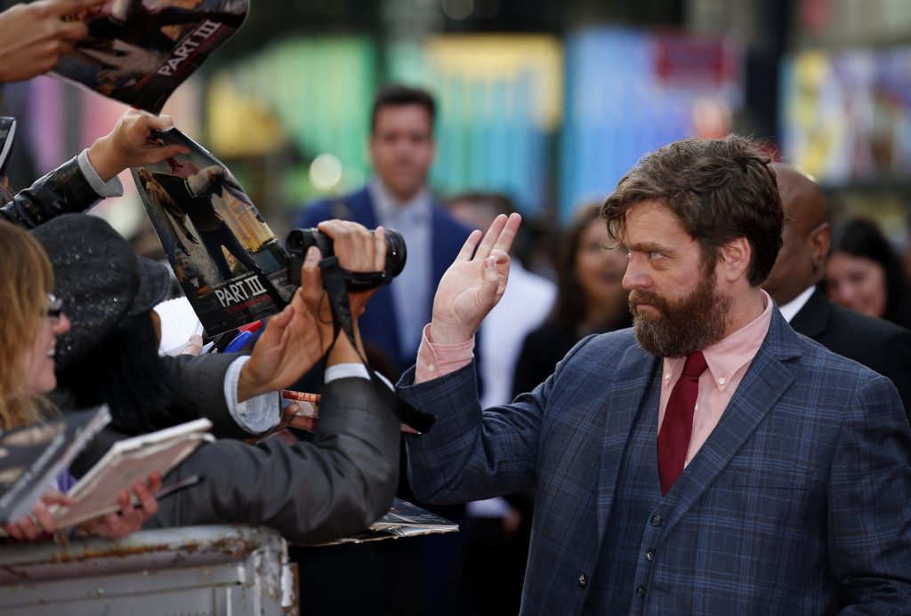 Comedian and actor Zach Galifianakis arrives for the European Premiere of 'The Hangover Part 3' in London on May 22, 2013.