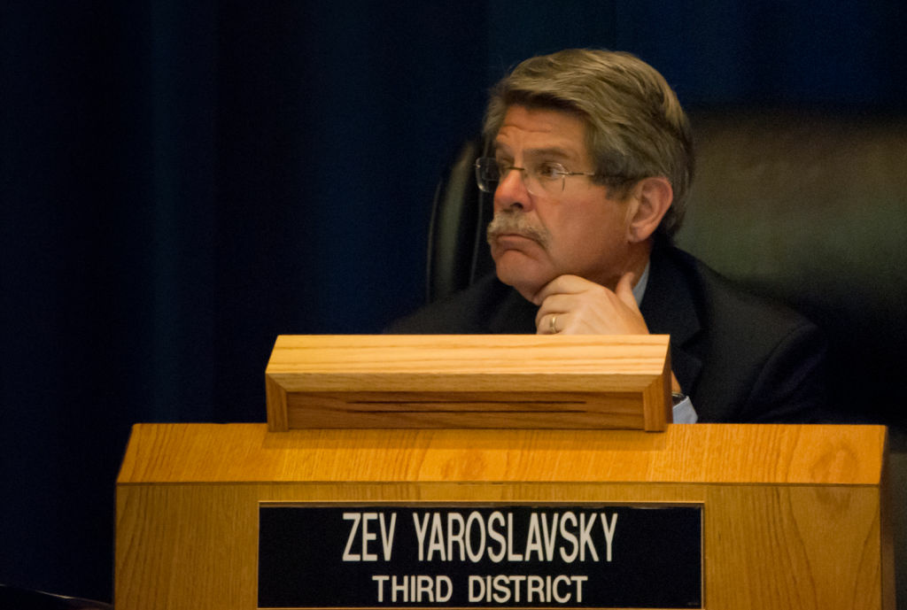 Supervisor Zev Yaroslavsky listens to a fellow supervisor speak during a board meeting at the Hall of Administration on June 6, 2012.