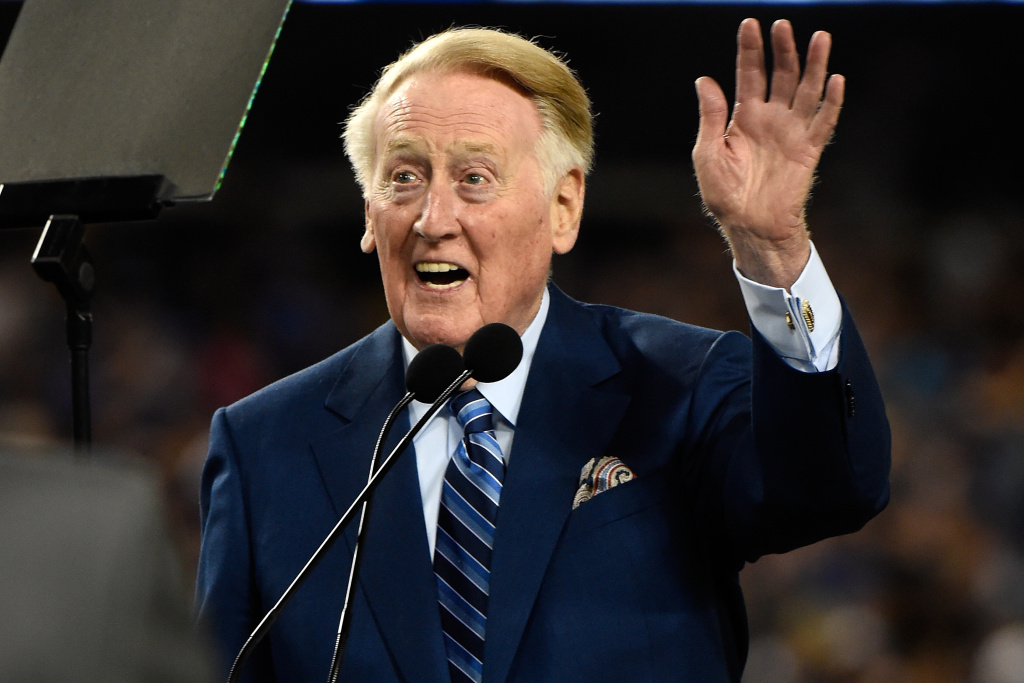 LOS ANGELES, CA - SEPTEMBER 23:  Dodgers announcer Vin Scully addresses the crowd during a retirement ceremony in his honor before the game at Dodger Stadium on September 23, 2016 in Los Angeles, California. Scully is retiring after 67 years with the Dodgers. (Photo by Lisa Blumenfeld/Getty Images)