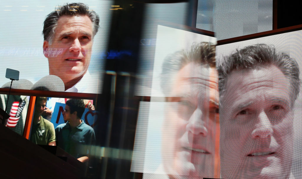 Displays show Republican presidential candidate, former Massachusetts Gov. Mitt Romney during the final day of the Republican National Convention at the Tampa Bay Times Forum on August 30, 2012 in Tampa, Florida. Former Massachusetts Gov. Mitt Romney was nominated as the Republican presidential candidate during the RNC which will conclude today.