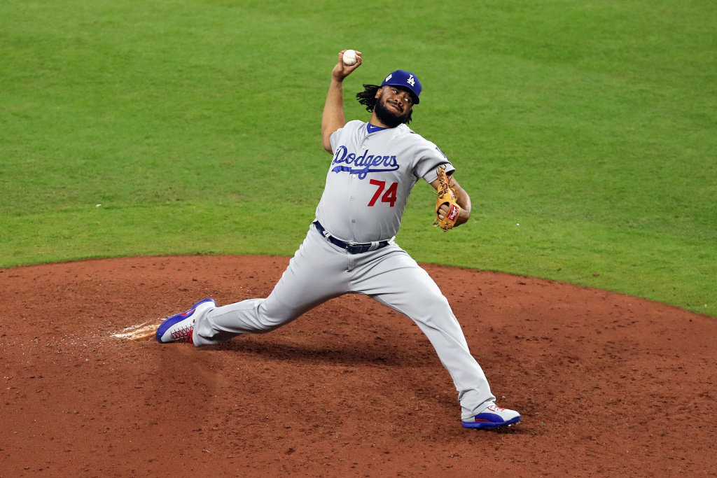 Kenley Jansen (#74) of the Los Angeles Dodgers pitches during the ninth inning against the Houston Astros in game four of the 2017 World Series at Minute Maid Park on October 28, 2017 in Houston, Texas.