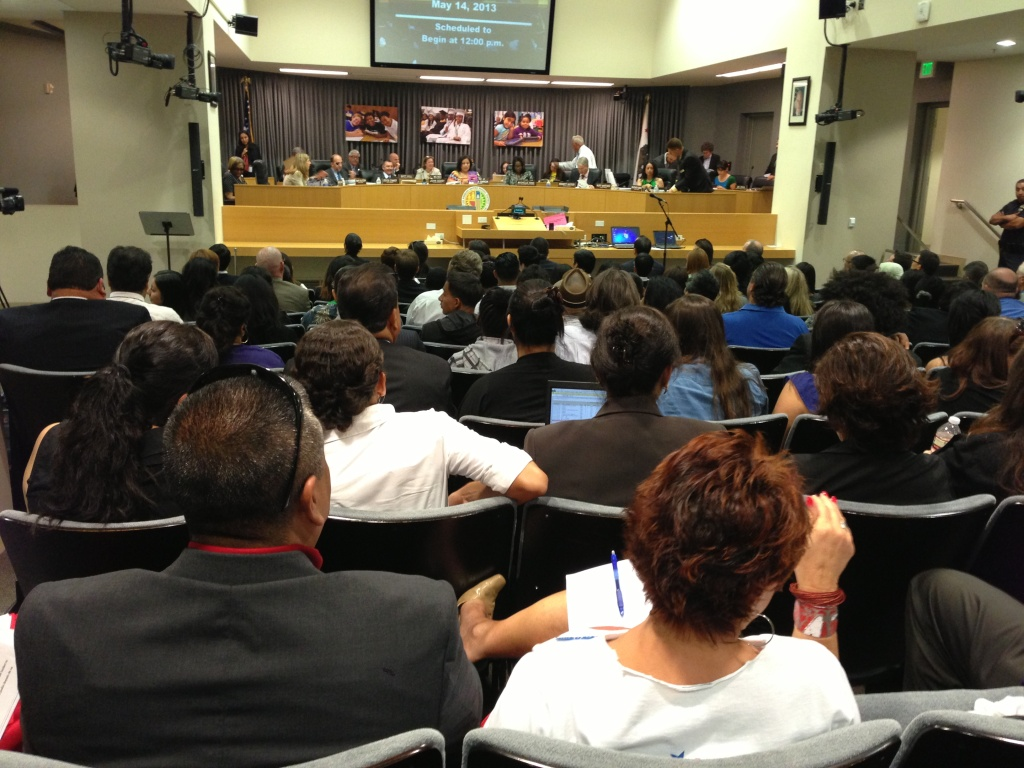 The L.A. Unified School District said Thursday they intend to meet an ambitious goal of making all graduates eligible to meet University of California admission requirements. (Photo: A May 2013 Los Angeles Unified School District Board of Education meeting).