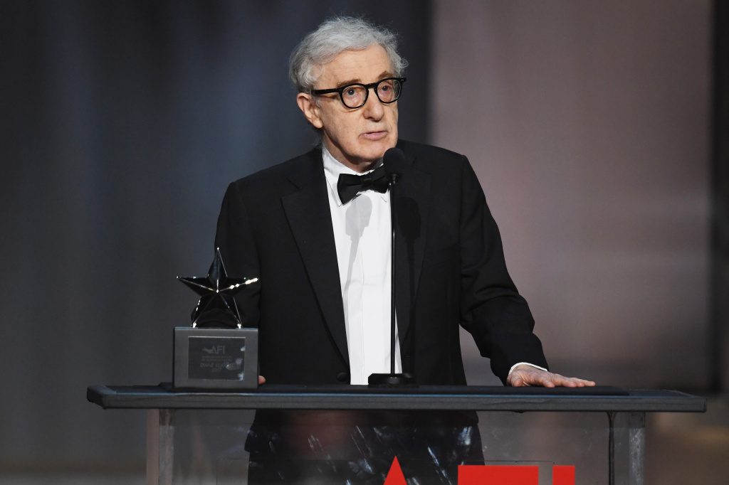 Director-actor Woody Allen speaks onstage.