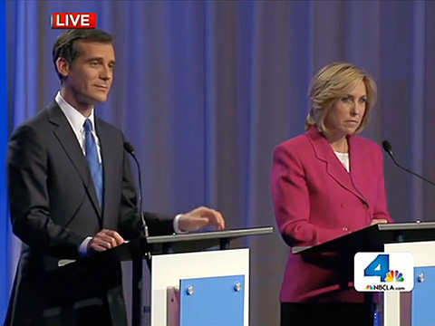 City Councilman Eric Garcetti and City Controller Wendy Greuel greet each other before a mayoral debate at USC Health Sciences Campus in Mayer Auditorium on Monday, April 22.