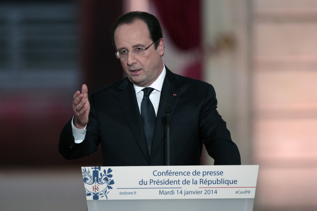 French president Francois Hollande speaks during a press conference to present his 2014 policy plans at the Elysee presidential palace on January 14, 2014, in Paris, France. This high-profile press conference was initially expected to culminate with a key announcement on reforms to spur economic growth and create jobs but it is yet mostly seen as his first public appearance since news of his alleged affair with a French actress became public.