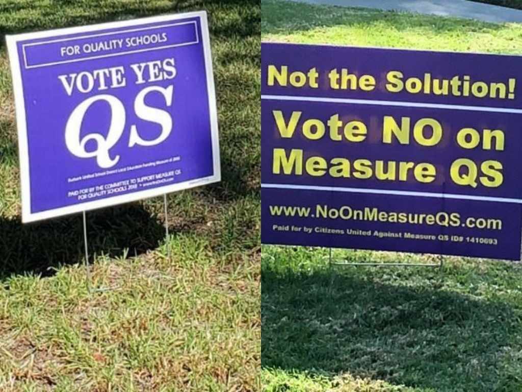 Purple signs are popping up around Burbank advocating for, and against, Measure QS. If passed, the measure would create a parcel tax. The funds would go to the school district.