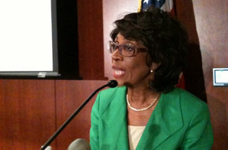 Maxine Waters at a press conference on ethics charges, August 13, 2010