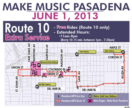 Take Metro to the Del Mar, Allen or Memorial Park stations and ride the free Pasadena ARTS shuttle to get to Make Music Pasadena.