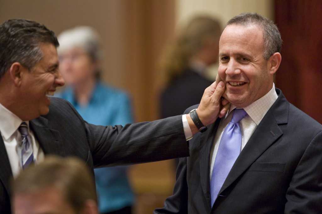 Sen. Abel Maldonado (L) pinches the cheek of Senate President Sen. Darrell Steinberg. Steinberg is one of the officials who remain wary of the budget reforms California Forward wants to press.