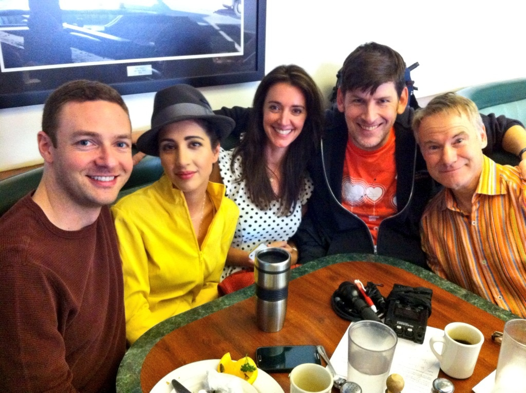 Ross Marquand, Dana Delorenzo, Angela Hoover, John Rabe, and Jim Meskimen at Corky's diner in Sherman Oaks, the birthplace of The Impression Guys on YouTube..