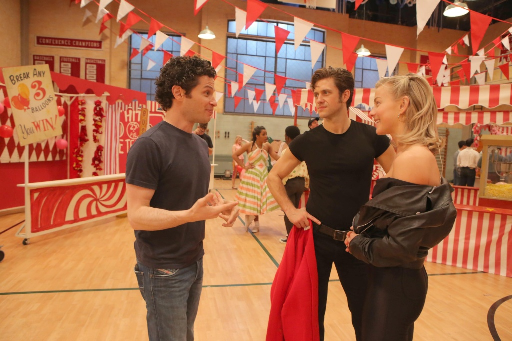 (L-R): Thomas Kail, Aaron Tveit, and Julianne Hough rehearse for GREASE: LIVE.