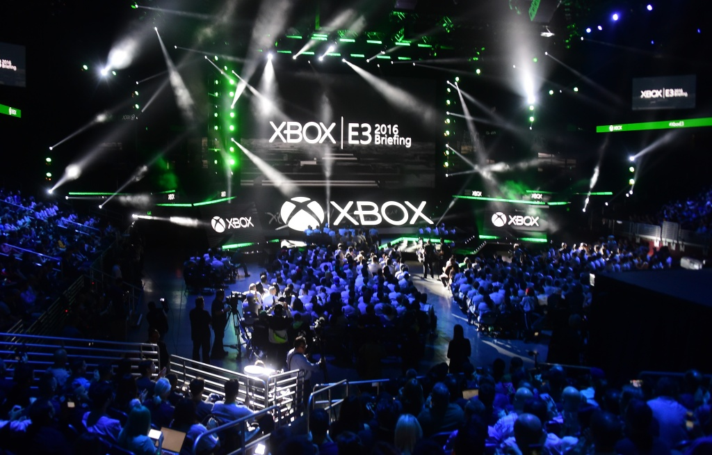 People fill the Galen Center for Microsoft's E3 2016 Xbox press conference in Los Angeles, California on June 13, 2016, where the latest titles for Xbox were introduced one day ahead of the start of the 2016 Electronic Entertainment Expo, or E3, at the L.A. Convention Center.
