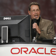 Oracle CEO Larry Ellison demonstrates Or