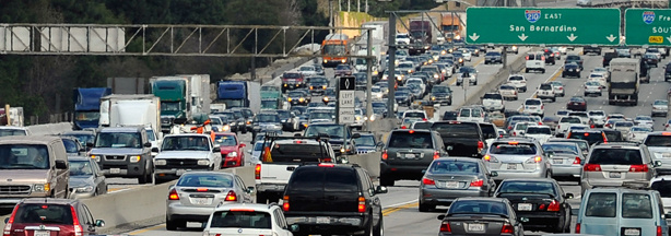 Traffic stacks up on the west- and east-bound lanes of the 210 Foothill Freeway near Los Angeles as Thanksgiving holiday travelers hit the freeways on November 24, 2010 in Duarte, California.