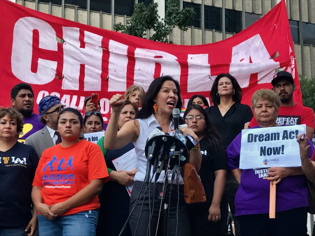 Alejandra Valles of SEIU Workers West (USWW) told attendees at a Sept. 5, 2017 Los Angeles rally in support of DACA that they would