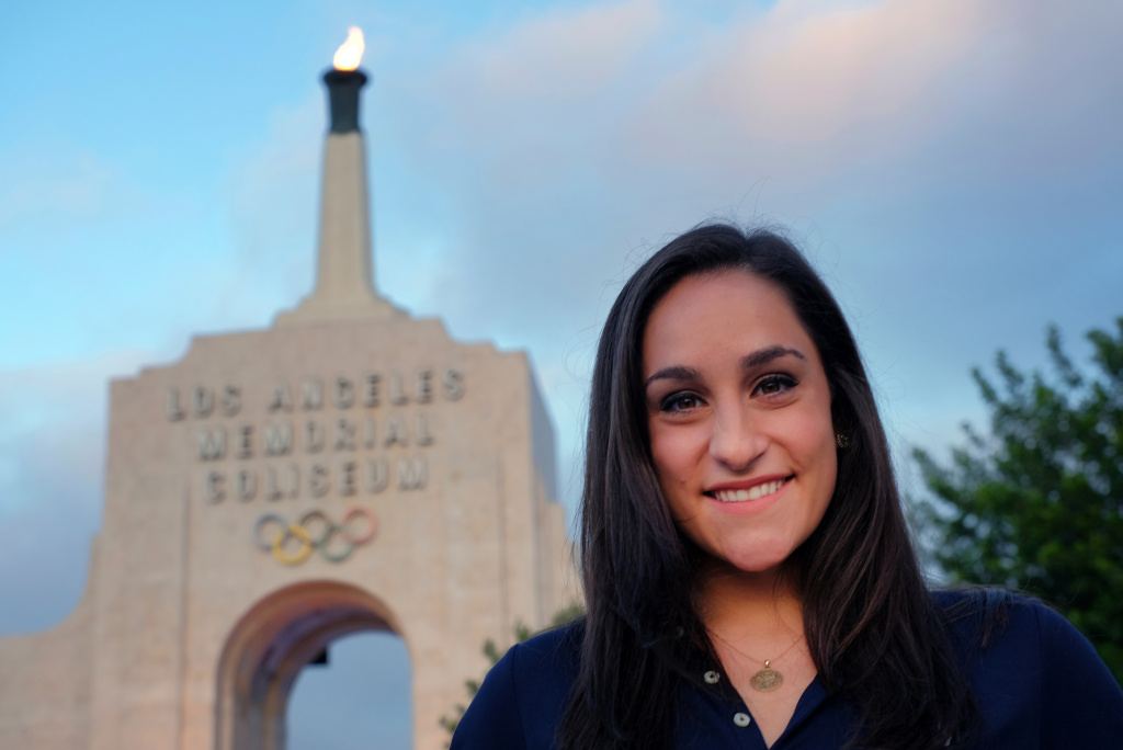 In this Sept. 13, 2017 file photo, former U.S. Women's Gymnastics team member Jordyn Wieber talks during an interview at the Los Angeles Memorial Coliseum. Olympians who were abused by former USA Gymnastics doctor Larry Nassar are supporting legislation that would make California the first state to require doctors to tell their patients if they are on probation. Olympic gold medalist Jordyn Wieber said Monday, April 9, 2018, the measure could help protect women from abuse.