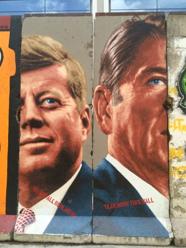 A larger look at the murals on the Berlin Wall segments on Wilshire Blvd.