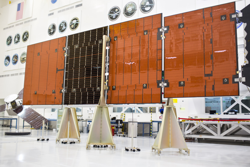 The Juno spacecraft is solar-powered. An engineering model shows one wing during a media preview at Jet Propulsion Laboratory in Pasadena on Thursday morning, June 9, 2016. The actual array is made up of panels about the size of a city bus.