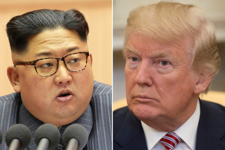 North Korean leader Kim Jong-Un and US President Donald Trump speaking to the press in the Oval Office of the White House in Washington, DC on February 9, 2018.