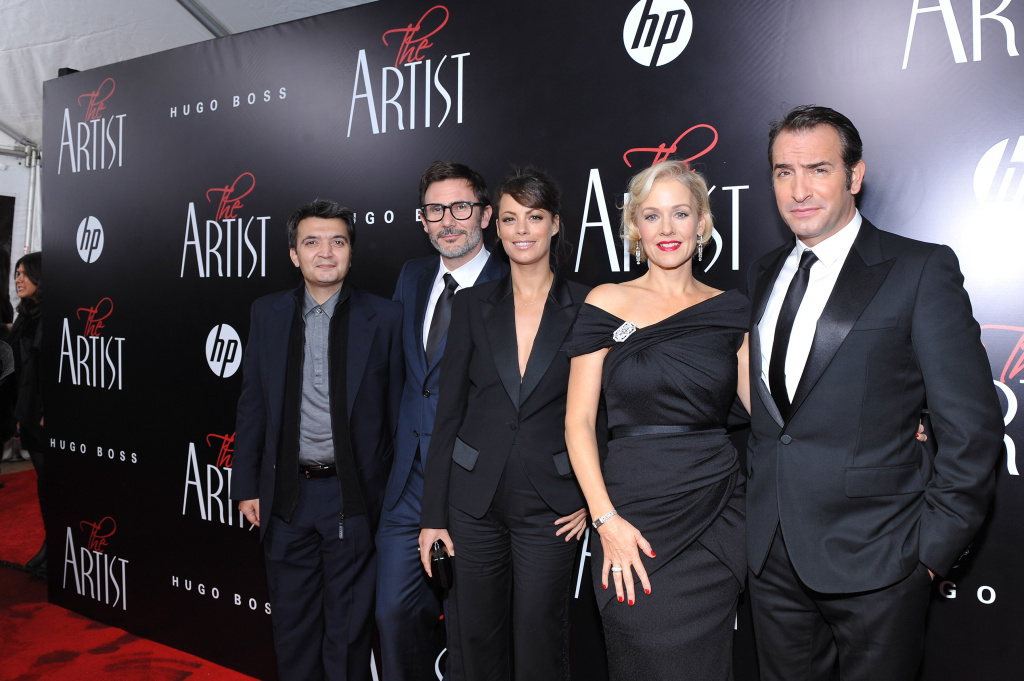(L-R)  Producer Thomas Langmann, director Michel Hazanavicius, actress Berenice Bejo, actress Penelope Ann Miller, and actor Jean Dujardin attend the premiere of