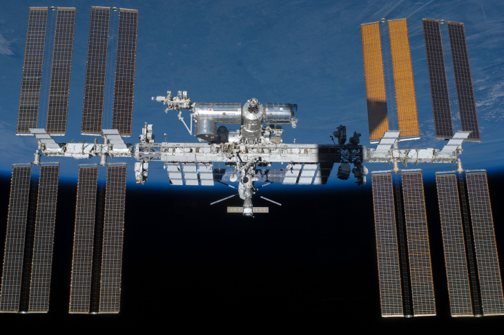 This picture of the International Space Station was photographed from the space shuttle Atlantis as the orbiting complex and the shuttle performed their relative separation in the early hours of July 19, 2011. The western Himalayas and the Tibetan Plateau are visible below. Onboard the station were Russian cosmonauts Andrey Borisenko, Expedition 28 commander; Sergei Volkov and Alexander Samokutyaev, both flight engineers; Japan Aerospace Exploration astronaut Satoshi Furukawa, and NASA astronauts Mike Fossum and Ron Garan, all flight engineers. Onboard the shuttle were NASA astronauts Chris Ferguson, STS-135 commander; Doug Hurley, pilot; and Sandy Magnus and Rex Walheim, both mission specialists.