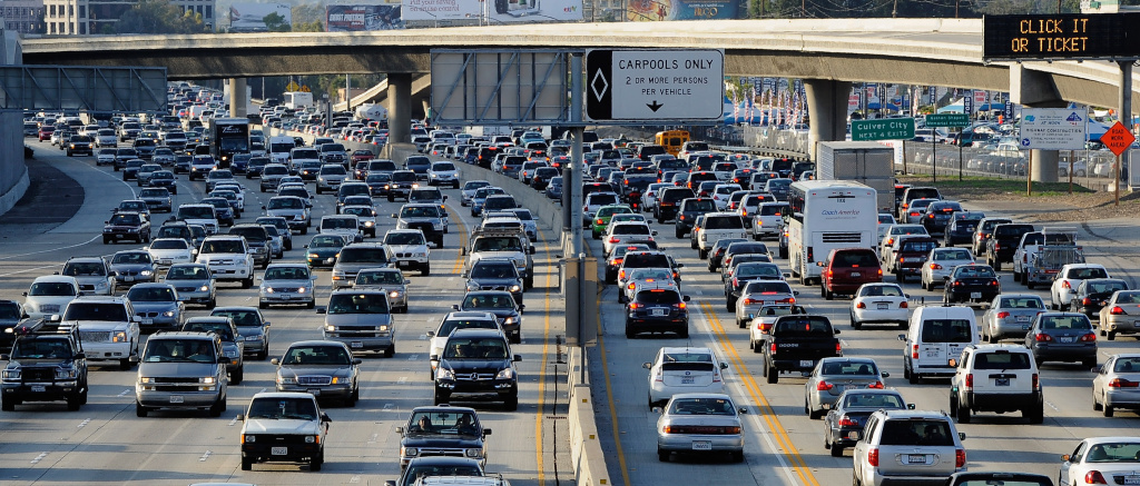 Traffic on the northbound and the southbound lanes of the 405 freeway near Los Angeles International Airport.