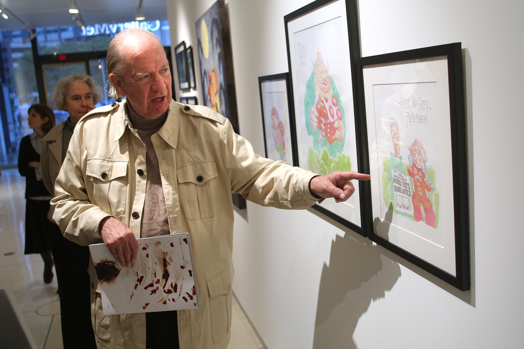 Artist Gahan Wilson discusses his piece on display during a press preview of the Metropolitan Opera's and The New Yorker's exhibition of